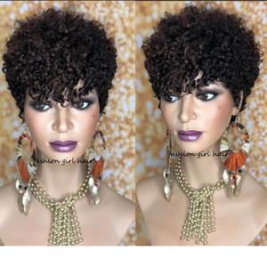 Court Sassy Curl Pixie Cut Designer1 perruque perruques de cheveux bouclés humain pour les femmes du Brésil Remy Hair 150% complète Densi