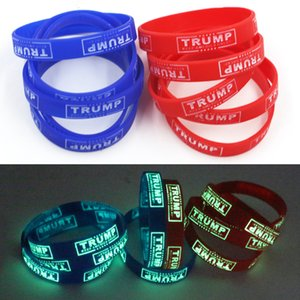 Trump 2020 Supporters tornar a América Grande pulseira de borracha de silicone Esporte Luminous Wrist Band Trump Bangles Cuff Homens Mulheres Jóias
