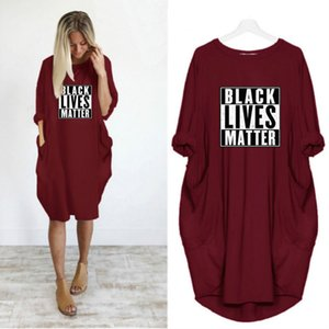 블랙 삶 사정 여자 새로운 드레스 유행 편지 인쇄 크루 넥 캐주얼 파티 드레스 패션 긴 소매 여성 여름 의류