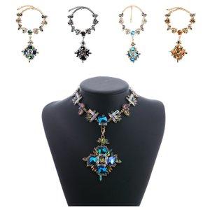 Cadena popular europea y americana del cuello de la piedra preciosa, collar pendiente retro de la piedra preciosa de lujo Venta al por mayor Venta al por mayor