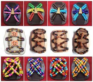 Retro Designer Headband Wooden Hair Combs Magic Comb Double Row Insert Magic Hair Clips Handmade Beaded Mixed Hair Accessories for Women