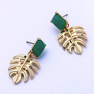 Creative Palm Leaf Boucles d'oreilles Tempérament mode européenne et américaine Hipster vacances Boucles d'oreilles style populaire Bijoux en gros