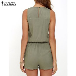 2020 ZANZEA Jumpsuit for Women Sleeveless Zipper Short Playsuits Ladies Sexy V Neck Overalls Rompers Plus Size Bodysuit MX200402