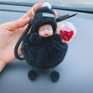 Sleeping fiore della Rosa di Baby Doll Portachiavi artificiale Pompon sfera Portachiavi Borsa pendente Hanging regalo di giorno di San Valentino HHA1167-2