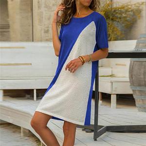 Donna vestido de manga Breve Lady Pano Branco Mulher Painéis Casual Um vestido de linha de moda curto T-shirt