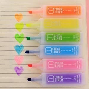 Bunte Leuchtstofffeder Oblique Highlighters Mode-Aquarell-Pens Kawaii Markierungs-Feder-Malerei Stifte Schreibwaren Schreibwaren VT1509