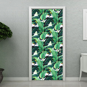 3D Stickers Modern Tropical Rain Forest Leaf Wallpaper Living Room Study Door Stickers Home Decoration Vinyl Waterproof 3D Mural