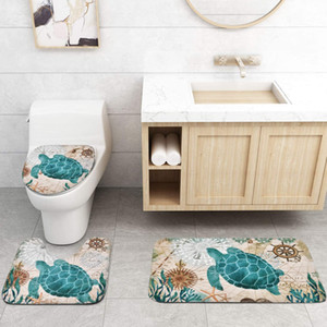 Sea Turtle Shower Curtain Sets with Non-Slip Rugs Toilet Lid Cover and Bath Mat Nautical Ocean Shower Curtains with 12 Hook s