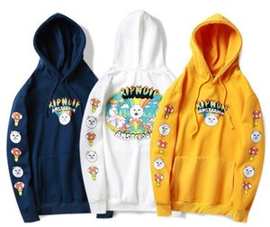 Mens casual hoodies mushroom river middle finger cat hooded plus velvet sweatshirt couple with the same paragraph
