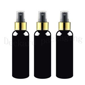 30pcs 200ml 250ml fino de color negro botella de bomba de pulverización, el contenedor de la bomba collar de oro de plástico vacía con pulverización, cosméticos botella de spray