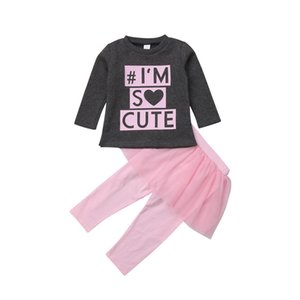 2019 Sping Cute Autumn Baby Kids Girl Long Sleeve Top Tulle Tutu Leggings Pink Pants Dress Outfit Set