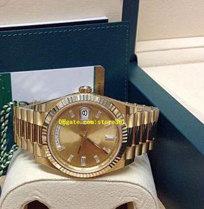Caixa original certificado Mens Relógios 40 MM 228238 Ouro Amarelo Champagne Diamante Dial Asia 2813 movimento automático