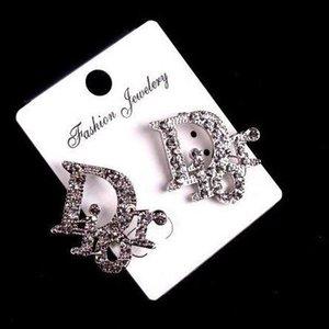 مصمم العلامة التجارية 2018Luxury رسالة D مربط القرط العلامة التجارية رسالة K المرأة تعلق القرط مجوهرات اكسسوارات الزفاف للهدية PartyE1249