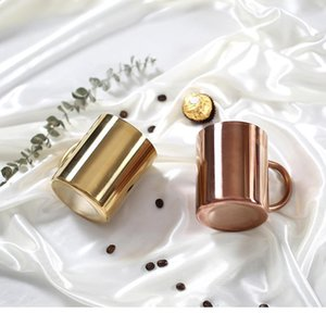 Chic 304 Stainless Steel Mugs Double Titanium Anti-hot Mug Plating Gold Rose Sliver Coffee Cup Breakfast Milk Cups Mug 450ml C18112301