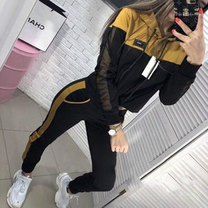 Tracksuits Color Panelled Womens Designer Tracksuits Fashion Long Sleeve Hooded Two Piece Pants Casual Slim Womens
