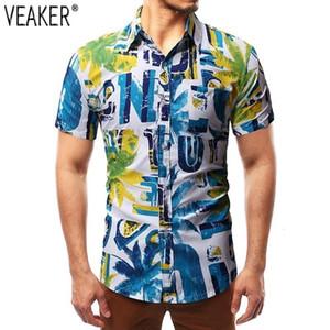Camisas Casuales de Hombres 2021 Hombres Mouw Corto Impreso Fit Slim Fit Letter Camisa Tops de verano M -2XL