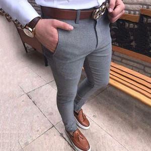 Sıcak Moda Erkekler Slim Fit İş Biçimsel Pantolon Pamuk Fermuar Artı boyutu Casual Büro Skinny Düz Katı Pantolon