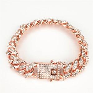 hip hop high plating men bracelets jewelry full rhinestones wide cuban chain bracelet bangles