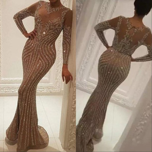 Manches longues Robes Tenue de soirée cristaux de luxe d'or Robes de soirée Zuhair Murad Celebrity robe de bal