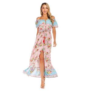 Mulheres Bohemian Praia Vocação balanço vestido longo Lady Verão ajustável um ombro Sexy plissada vestido estampado A-line