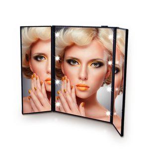 LED Makyaj Ayna Seyahat Katlama Taşınabilir Makyaj Ayna 8 LED Işıklar Işıklı Kadınlar Kozmetik Masaüstü Üç Tarafı Makyaj Ayna DBC DH0731