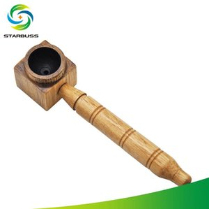 New Square Wood Rod Pipe Striped Feinhals-Tabakwerkzeug