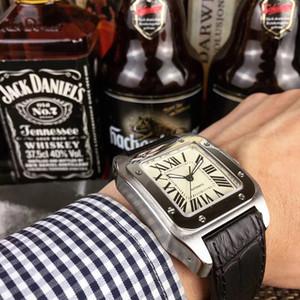 2019 Hot Moda Relógio 40mm Relógio De Aço Inoxidável Cinta De Couro Movimento Automático Caixa De Prata Mens Mens Relógios Esportes relógios de pulso