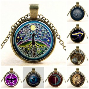 Collar Colgantes Vintage árbol vida árbol imagen cabujones de vidrio cadena de bronce antiguo collar joyería de moda Bellamente Collares de cadena