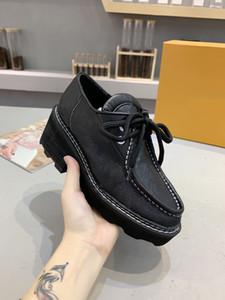 مع مصمم أحذية مربع الفاخرة النساء Beaubourg لمنصة DERBY أسود بيضاء أحذية عارضة حجم 35-42 أحذية ارتفاع كعب