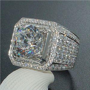 Lüks Erkek Yüzük 3ct 5A Zirkon Sona taş Erkekler için 925 ayar gümüş Nişan düğün band yüzük Takı