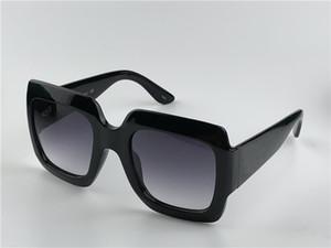 Nuovo design della moda donna occhiali da sole 0053 nero grande cornice cornice quadrata classica semplici occhiali eleganti UV400 occhiali protettivi all'aperto