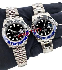 2 estilos homens mestre relógio de luxo GMT 126710 126710BLNR 116710BLNR 116710 painel de cerâmica movimento automático blackblue SS 316L batman relógio