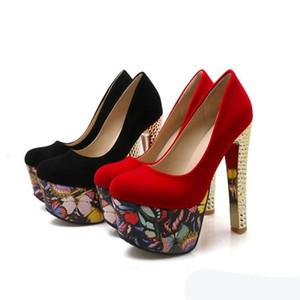 маленький большого размер 33 до 42 43 ультра высокого каблука 15сма черных красных цветочных платформы ботинки платья насосы