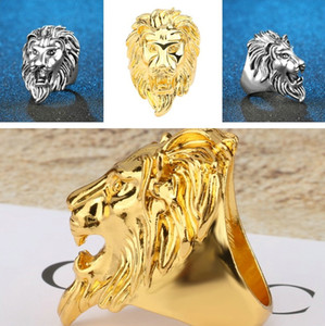 Men Lion Head Ring Vintage hiphop hip hop Gothic Punk Rock rings Gold Silver Plated finger ring mens male Fashion Jewelry jewellery