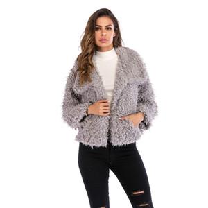 2019 Winter Fashion Lapel Furry Coat Wild Short Jacket Women Warm Fashion Jacket Europe And The United States New Size S -2xl