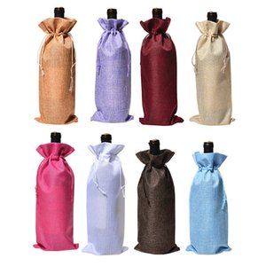 Cubiertas de botellas de vino caliente Champagne Wine Packaging Bolsas de regalo Bolsa de yute de Navidad Cena de boda Portavasos Decoraciones de Navidad 2000pcs T2I5433