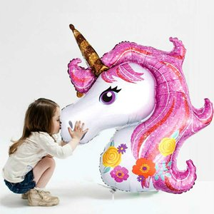Giant Unicorn Balloon Kids Birthday Party Decoration Rainbow Pink Purple Foil Balloons Wedding Party Supplies Favors