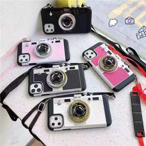 Lusso retro metallo 3D Camera Phone copertura posteriore di caso per Apple iPhone 11 Pro X XR XS MAX 6 7 8 Inoltre TPU caso con laccio