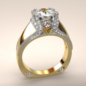 The New Plating 14k Gold color ring Full Diamond Crown Ring Creative Two-tone engagement ring factory wholesale