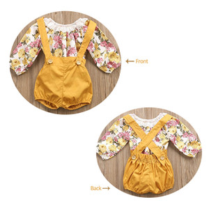 Infant Girls Rompers Shorts Set Toddler Lace Floral Camiseta de manga larga + Pantalones cortos ordinarios 2 piezas Overoles Kids Baby Boutique Outfits A41703