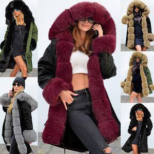 Меховая зимняя куртка женский дизайнер ретро с капюшоном женское пальто ванны моды винтажные теплые длинные женщины Parka Jaqueta Feminina DR1184