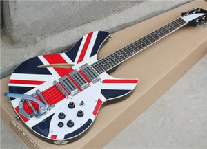 24 frets electric guitar with flag pattern, white shield, mahogany fingerboard, vibrato system, customized service