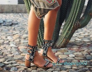 Hot Sale-ther Ankle Wrap Women Sandals High Heels Studs Open Toe Gladiator Sandals Shoes Black Leather Lady Summer Shoes