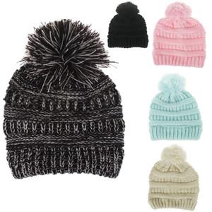Quente Cute Baby Gorro de moda infantil Chapéus de Inverno Suave Fur Pom Ball Caps Doce Cor Crochet Gorro Cap HH9-A2588