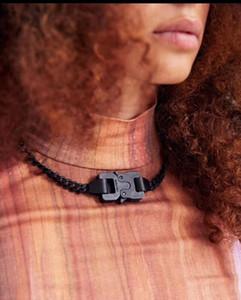 19FW 1017 ALYX STUDIO LOGO sérigraphié noir collier de chaîne en métal ceintures Bracelet Hommes Femmes Hip Hop Rue de plein air Accessoires Festival de cadeaux