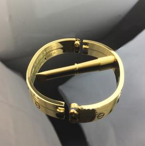 Nuevo acero de titanio par de simple pulsera hombres y mujeres destornillador rosa anillo de oro eterna salvajes rosa de 18 quilates brazalete de acero de titanio dorado