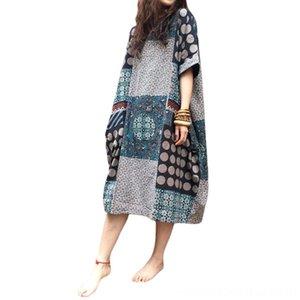 ZANZEA Vintage Women Random Floral Print Dress Summer Short Sleeve Baggy Long Mid Calf Cotton Linen Dress Casual Loose Kaftan