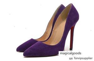 Purple Velvet Red Bottom Heels Women 12cm High Heel Ladies Female Low Footwear Pumps Wedding Slip-on Shoes