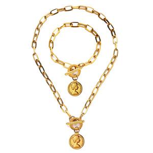 Neue Art und Weise Religious OT Schnalle Schönheits-Kopf-Schmucksets Edelstahl Toggle-Münzen-Anhänger-Halskette Armbänder für Frauen katholischen Geschenk