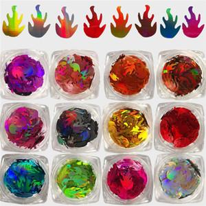 Un Conjunto holográfica Llama de uñas de las lentejuelas Ultra Thin fuego copos de brillo Paillette UV Gel deslizante 3D Nail Art Decoración